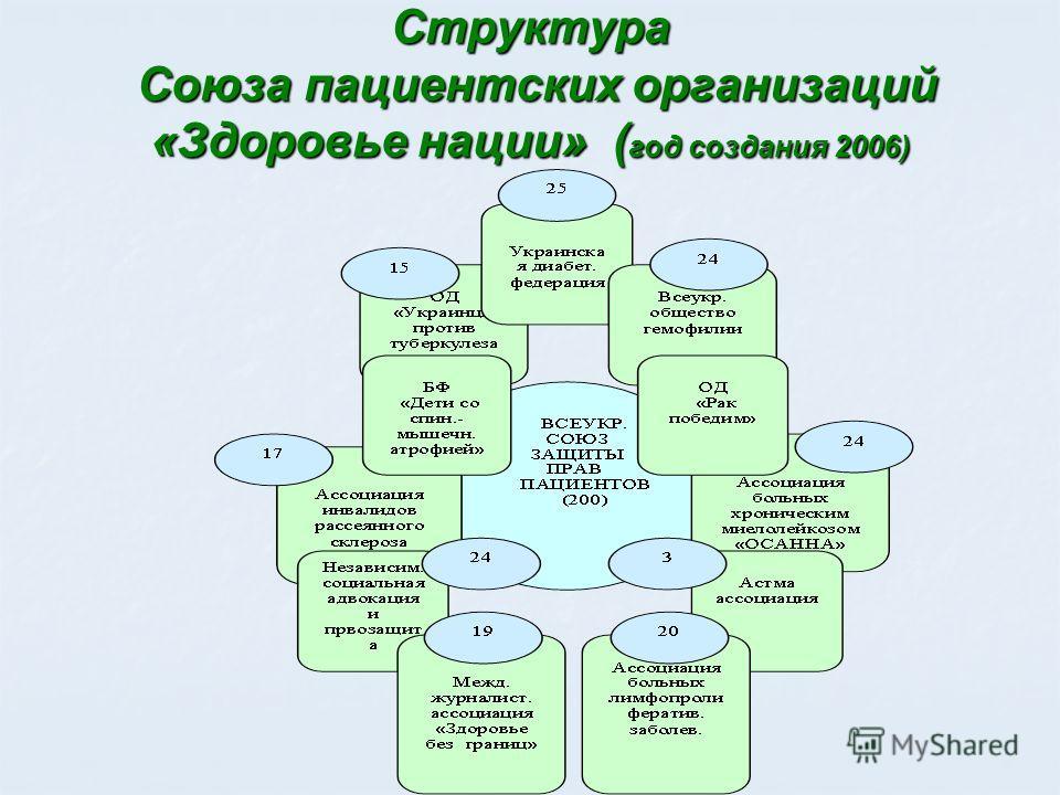 Структура Союза пациентских организаций «Здоровье нации» ( год создания 2006)