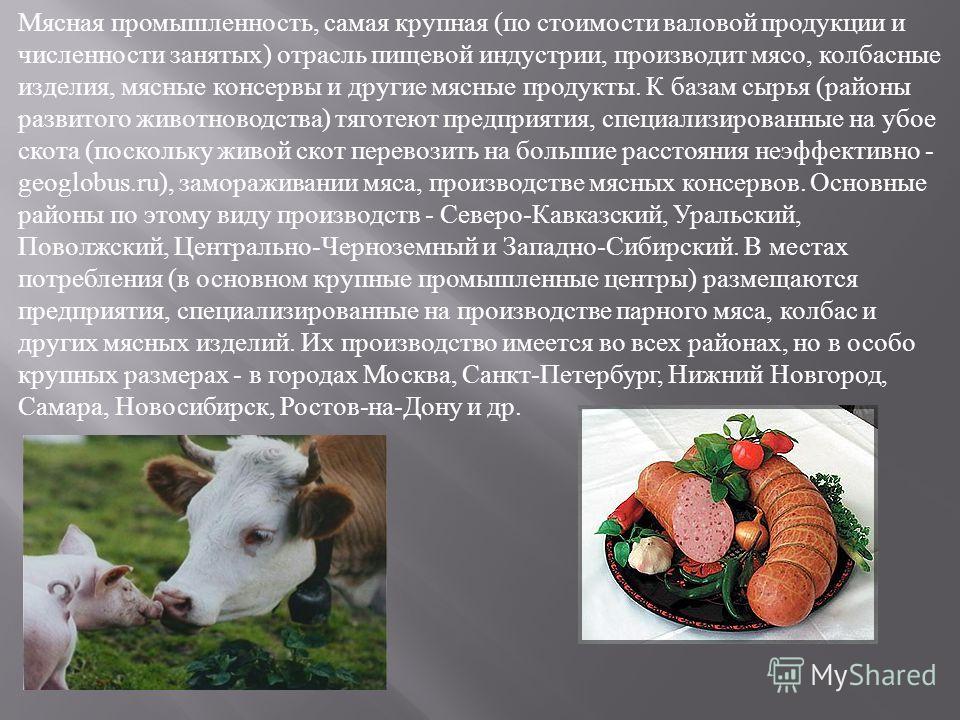 Мясная промышленность, самая крупная ( по стоимости валовой продукции и численности занятых ) отрасль пищевой индустрии, производит мясо, колбасные изделия, мясные консервы и другие мясные продукты. К базам сырья ( районы развитого животноводства ) т