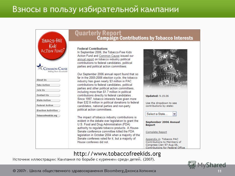 2007г. Школа общественного здравоохранения Bloomberg Джонса Хопкинса 11 Взносы в пользу избирательной кампании Источник иллюстрации: Кампания по борьбе с курением среди детей. (2007). http://www.tobaccofreekids.org