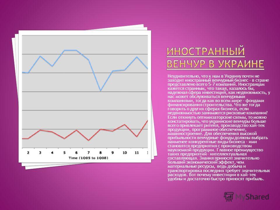 Неудивительно, что к нам в Украину почти не заходит иностранный венчурный бизнес – в стране представлено всего 5-7 компаний. Иностранцам кажется странным, что такая, казалось бы, надежная сфера инвестиций, как недвижимость, у нас может обслуживаться