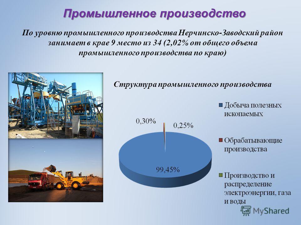 По уровню промышленного производства Нерчинско-Заводский район занимает в крае 9 место из 34 (2,02% от общего объема промышленного производства по краю) Структура промышленного производства Промышленное производство
