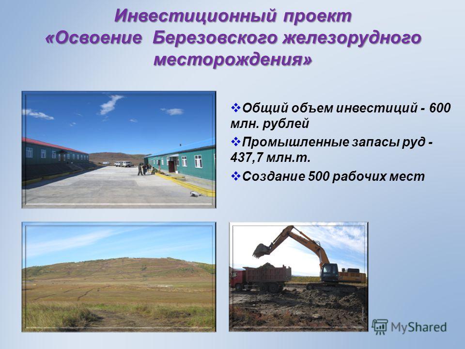Инвестиционный проект «Освоение Березовского железорудного месторождения» Общий объем инвестиций - 600 млн. рублей Промышленные запасы руд - 437,7 млн.т. Создание 500 рабочих мест