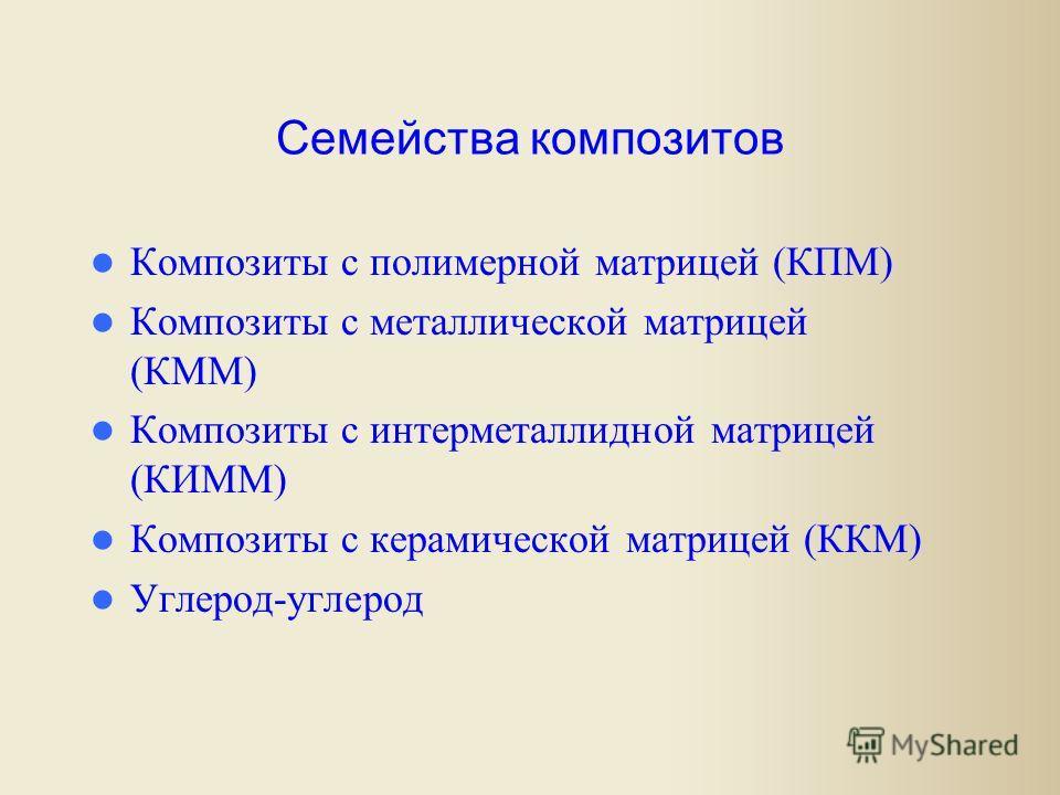 Семейства композитов Композиты с полимерной матрицей (КПМ) Композиты с металлической матрицей (КММ) Композиты с интерметаллидной матрицей (КИММ) Композиты с керамической матрицей (ККМ) Углерод-углерод