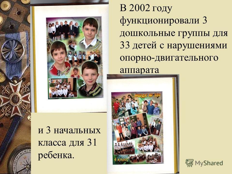 В 2002 году функционировали 3 дошкольные группы для 33 детей с нарушениями опорно-двигательного аппарата и 3 начальных класса для 31 ребенка.