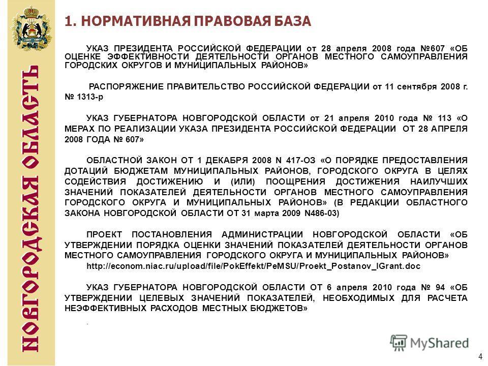 4 УКАЗ ПРЕЗИДЕНТА РОССИЙСКОЙ ФЕДЕРАЦИИ от 28 апреля 2008 года 607 «ОБ ОЦЕНКЕ ЭФФЕКТИВНОСТИ ДЕЯТЕЛЬНОСТИ ОРГАНОВ МЕСТНОГО САМОУПРАВЛЕНИЯ ГОРОДСКИХ ОКРУГОВ И МУНИЦИПАЛЬНЫХ РАЙОНОВ» РАСПОРЯЖЕНИЕ ПРАВИТЕЛЬСТВО РОССИЙСКОЙ ФЕДЕРАЦИИ от 11 сентября 2008 г.