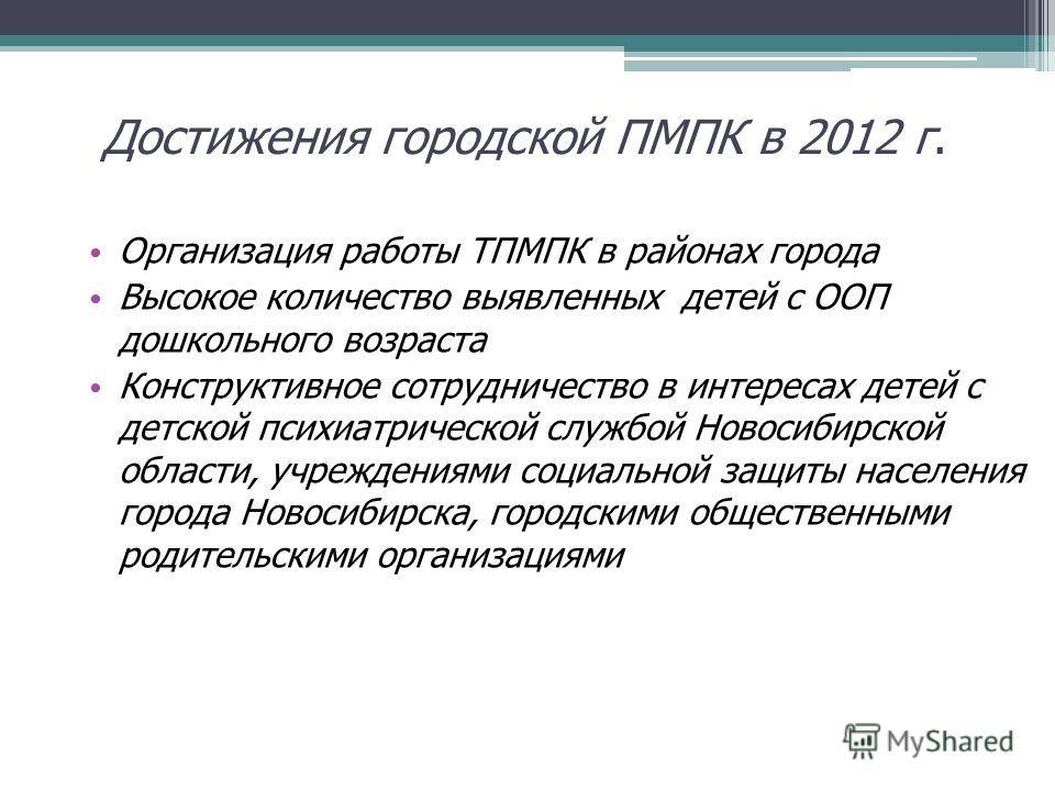 Достижения городской ПМПК в 2012 г. Организация работы ТПМПК в районах города Высокое количество выявленных детей с ООП дошкольного возраста Конструктивное сотрудничество в интересах детей с детской психиатрической службой Новосибирской области, учре
