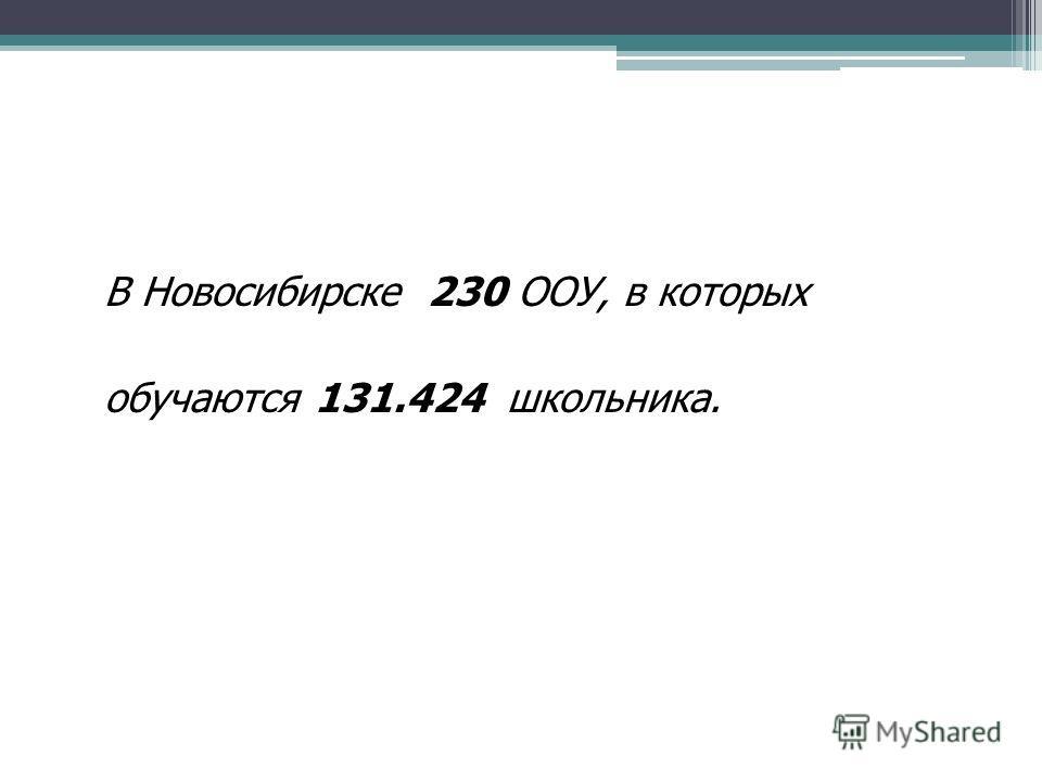 В Новосибирске 230 ООУ, в которых обучаются 131.424 школьника.