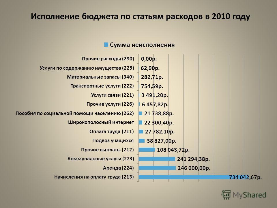 Исполнение бюджета по статьям расходов в 2010 году
