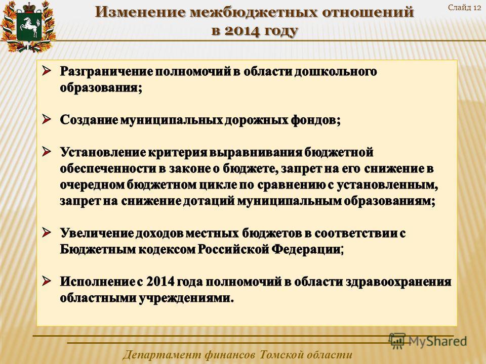 Департамент финансов Томской области Слайд 12 Изменение межбюджетных отношений в 2014 году