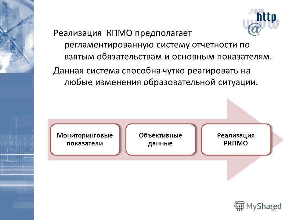 Реализация КПМО предполагает регламентированную систему отчетности по взятым обязательствам и основным показателям. Данная система способна чутко реагировать на любые изменения образовательной ситуации. 26