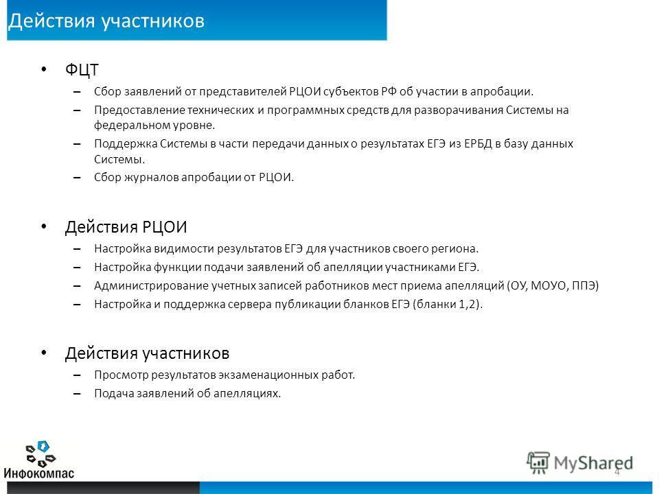 Действия участников ФЦТ – Сбор заявлений от представителей РЦОИ субъектов РФ об участии в апробации. – Предоставление технических и программных средств для разворачивания Системы на федеральном уровне. – Поддержка Системы в части передачи данных о ре