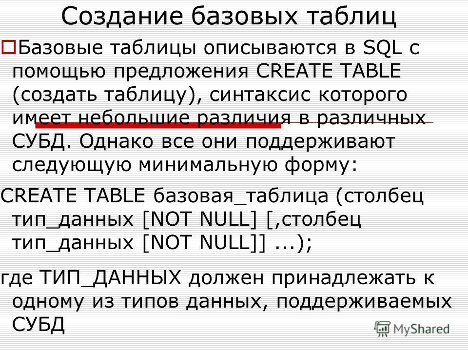 Создание базовых таблиц Базовые таблицы описываются в SQL с помощью предложения CREATE TABLE (создать таблицу), синтаксис которого имеет небольшие различия в различных СУБД. Однако все они поддерживают следующую минимальную форму: CREATE TABLE базова