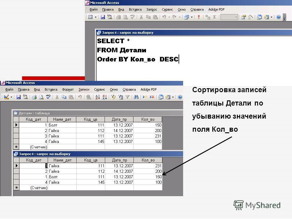 Сортировка записей таблицы Детали по убыванию значений поля Кол_во