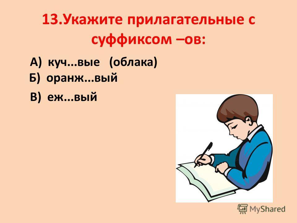 13.Укажите прилагательные с суффиксом –ов: А) куч...вые (облака) Б) оранж...вый В) еж...вый