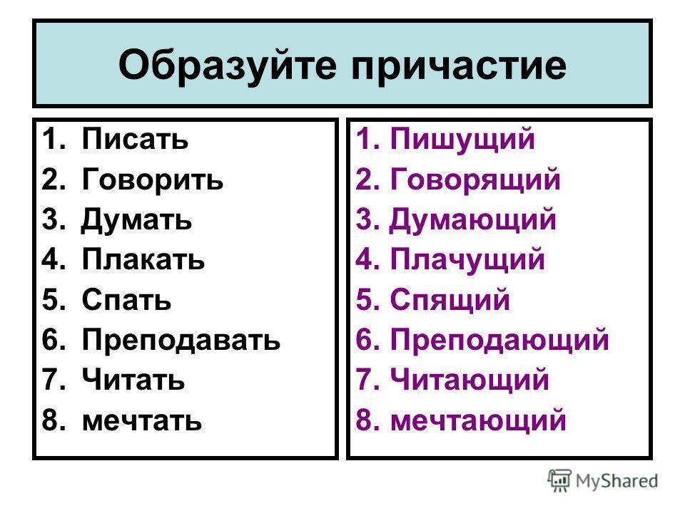 Образуйте причастие 1.Писать 2.Говорить 3.Думать 4.Плакать 5.Спать 6.Преподавать 7.Читать 8.мечтать 1.Пишущий 2.Говорящий 3.Думающий 4.Плачущий 5.Спящий 6.Преподающий 7.Читающий 8.мечтающий