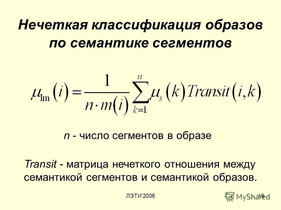 ЛЭТИ'200618 Нечеткая классификация образов по семантике сегментов n - число сегментов в образе Transit - матрица нечеткого отношения между семантикой сегментов и семантикой образов.