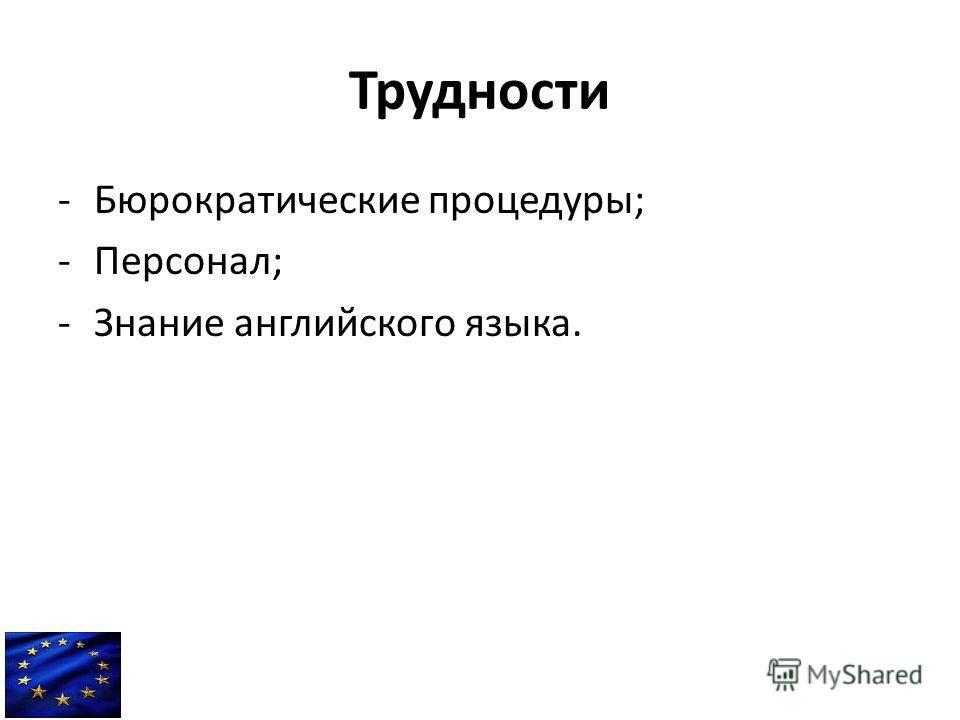Трудности -Бюрократические процедуры; -Персонал; -Знание английского языка.