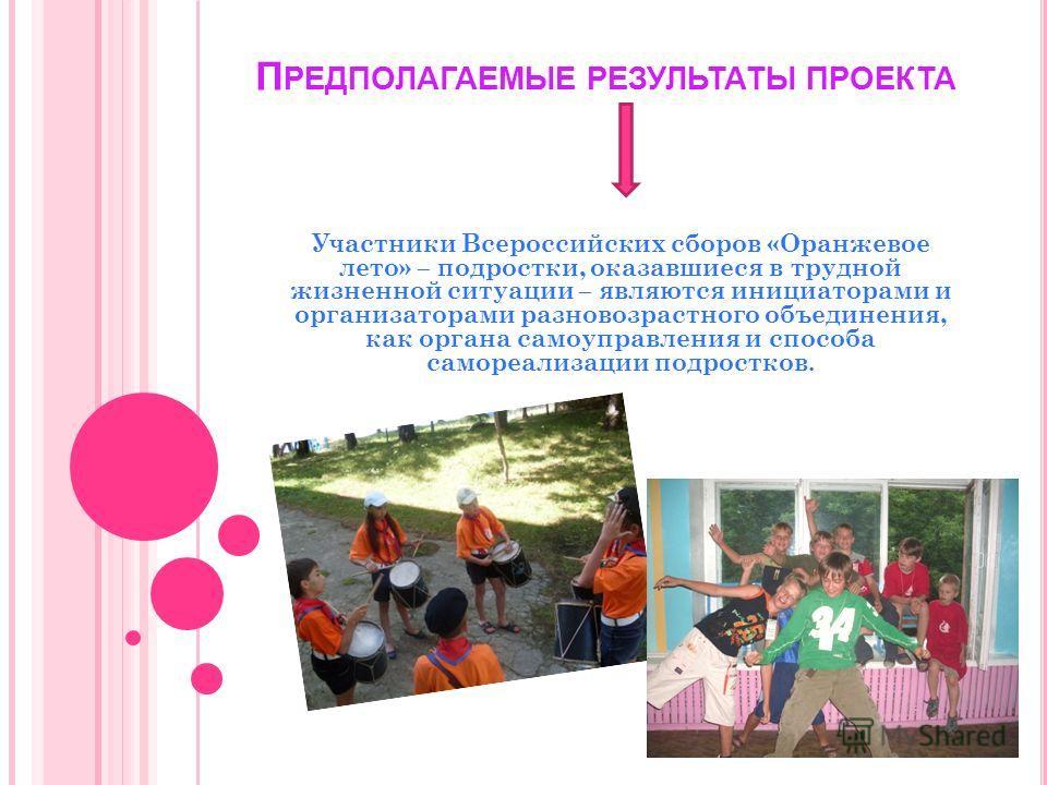П РЕДПОЛАГАЕМЫЕ РЕЗУЛЬТАТЫ ПРОЕКТА Участники Всероссийских сборов «Оранжевое лето» – подростки, оказавшиеся в трудной жизненной ситуации – являются инициаторами и организаторами разновозрастного объединения, как органа самоуправления и способа саморе