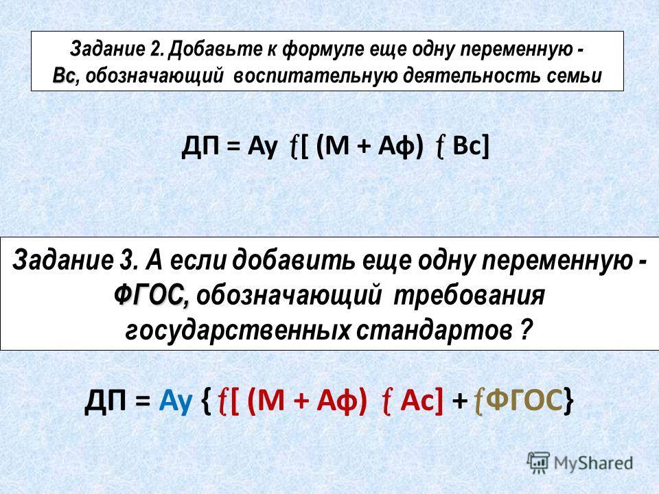 Задание 2. Добавьте к формуле еще одну переменную - Вс Вс, обозначающий воспитательную деятельность семьи ДП = Ау [ (М + Аф) Вс] Задание 3. А если добавить еще одну переменную - ФГОС, ФГОС, обозначающий требования государственных стандартов ? ДП = Ау