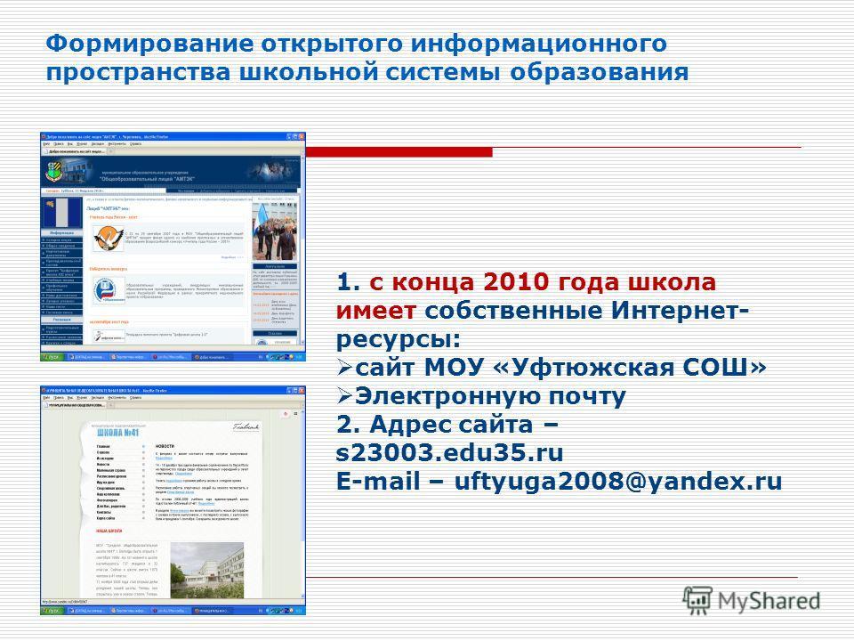 Формирование открытого информационного пространства школьной системы образования 1. с конца 2010 года школа имеет собственные Интернет- ресурсы: сайт МОУ «Уфтюжская СОШ» Электронную почту 2. Адрес сайта – s23003.edu35.ru E-mail – uftyuga2008@yandex.r