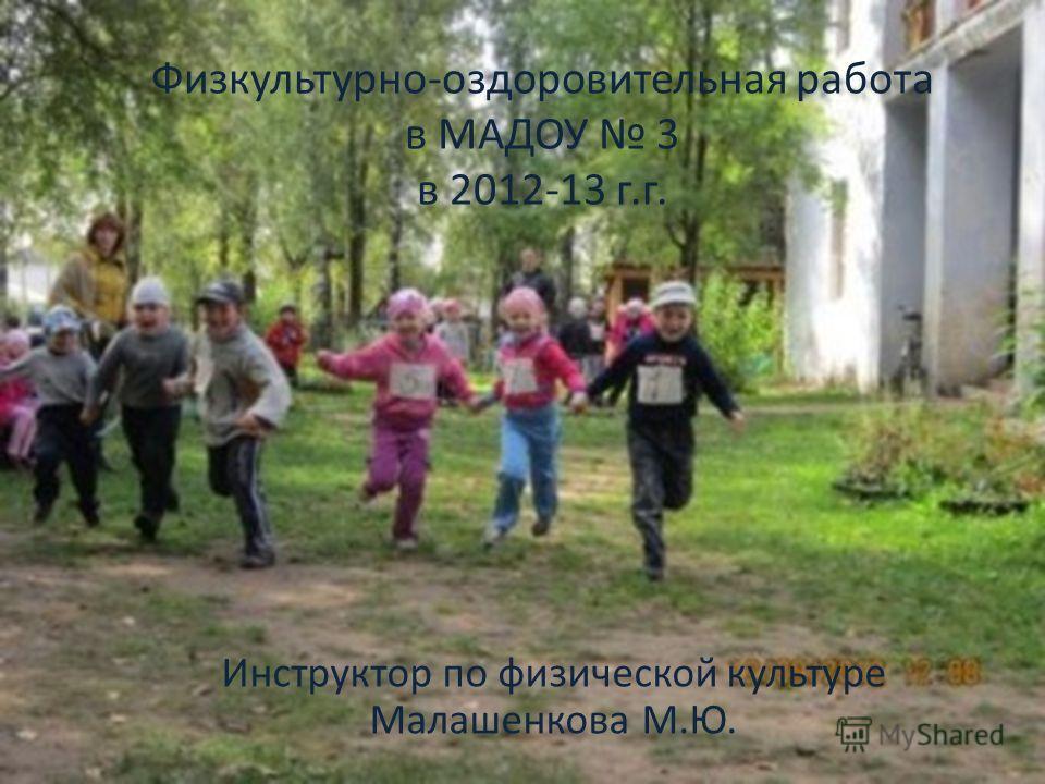 Физкультурно-оздоровительная работа в МАДОУ 3 в 2012-13 г.г. Инструктор по физической культуре Малашенкова М.Ю.