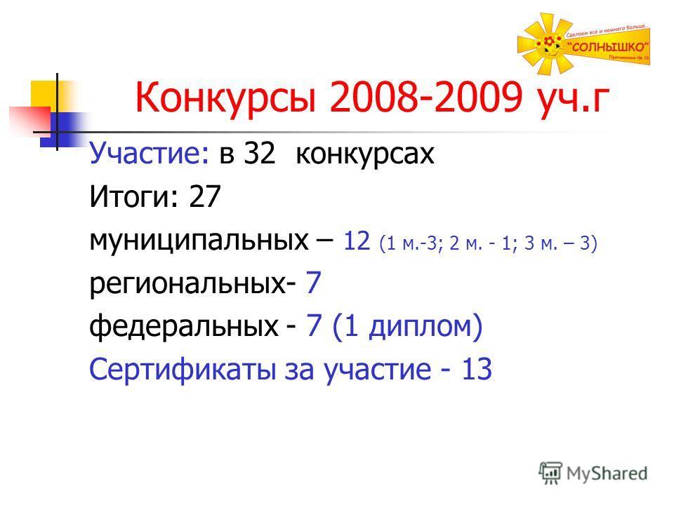 Конкурсы 2008-2009 уч.г Участие: в 32 конкурсах Итоги: 27 муниципальных – 12 (1 м.-3; 2 м. - 1; 3 м. – 3) региональных- 7 федеральных - 7 (1 диплом) Сертификаты за участие - 13