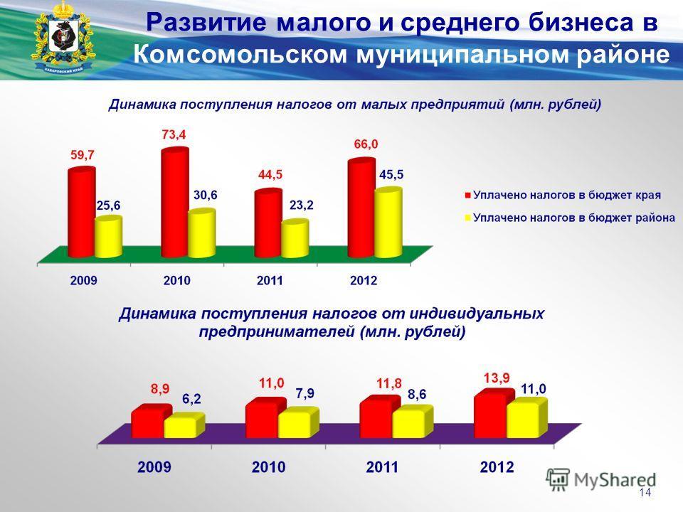 Развитие малого и среднего бизнеса в Комсомольском муниципальном районе 14