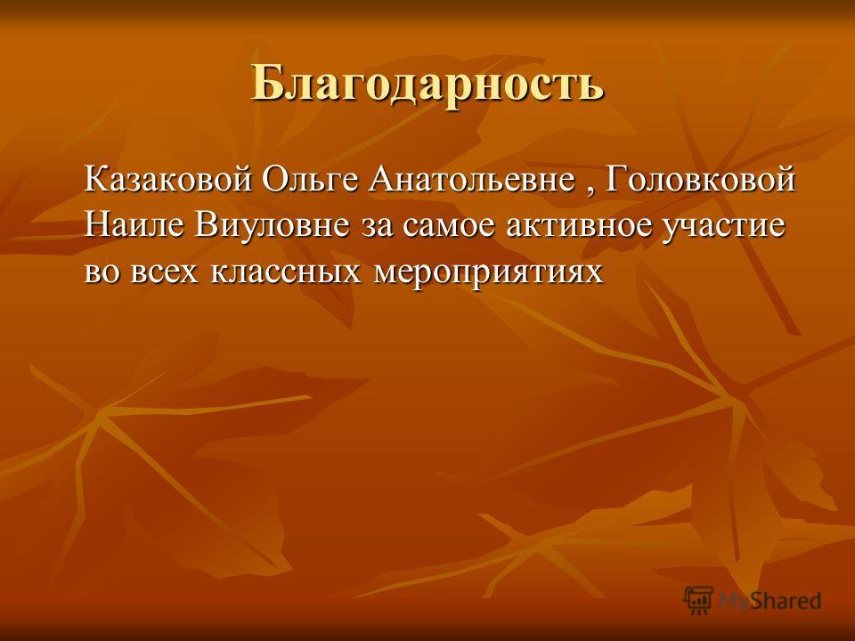 Благодарность Казаковой Ольге Анатольевне, Головковой Наиле Виуловне за самое активное участие во всех классных мероприятиях
