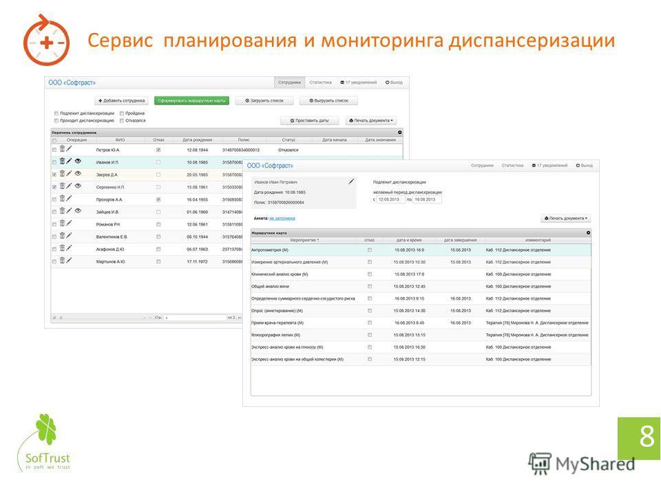 Заявка на диспансеризацию 7 Организации Предприятия Учебные заведения Граждане Формирование списка лиц для прохождения диспансеризации Запрос на прохождение диспансеризации с использованием веб-интерфейса на региональном уровне Выбор удобного времени