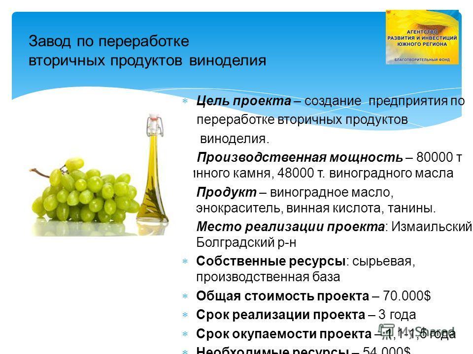 Завод по переработке вторичных продуктов виноделия Цель проекта – создание предприятия по переработке вторичных продуктов виноделия. Производственная мощность – 80000 т винного камня, 48000 т. виноградного масла Продукт – виноградное масло, энокрасит