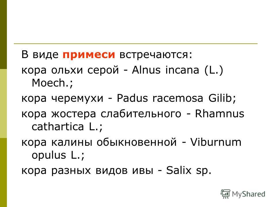 В виде примеси встречаются: кора ольхи серой - Alnus incana (L.) Moech.; кора черемухи - Padus racemosa Gilib; кора жостера слабительного - Rhamnus cathartica L.; кора калины обыкновенной - Viburnum opulus L.; кора разных видов ивы - Salix sp.