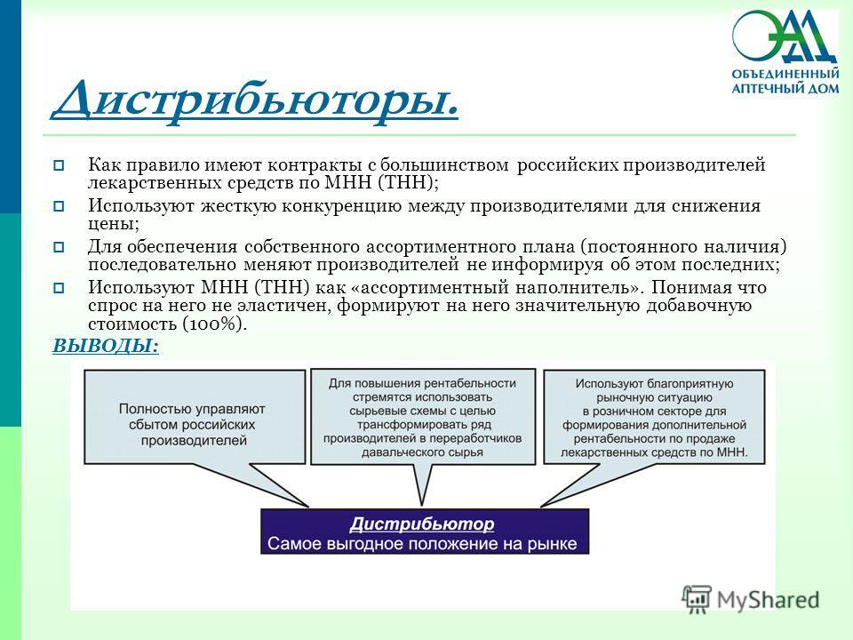 Дистрибьюторы. Как правило имеют контракты с большинством российских производителей лекарственных средств по МНН (ТНН); Используют жесткую конкуренцию между производителями для снижения цены; Для обеспечения собственного ассортиментного плана (постоя