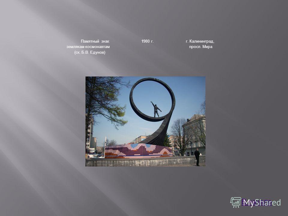 Памятный знак землякам-космонавтам (ск. Б.В. Едунов) 1980 г.г. Калининград, просп. Мира В начало