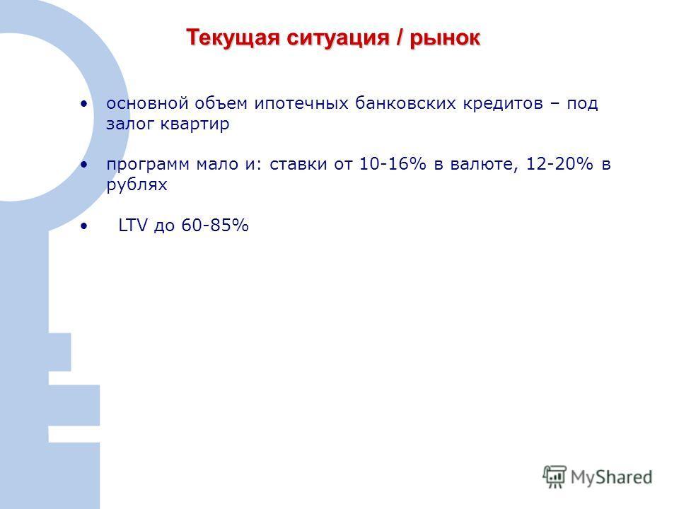 2 Текущая ситуация / рынок основной объем ипотечных банковских кредитов – под залог квартир программ мало и: ставки от 10-16% в валюте, 12-20% в рублях LTV до 60-85%