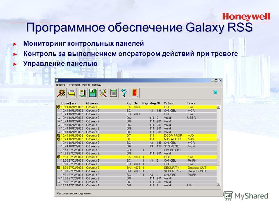 Мониторинг контрольных панелей Контроль за выполнением оператором действий при тревоге Управление панелью Программное обеспечение Galaxy RSS