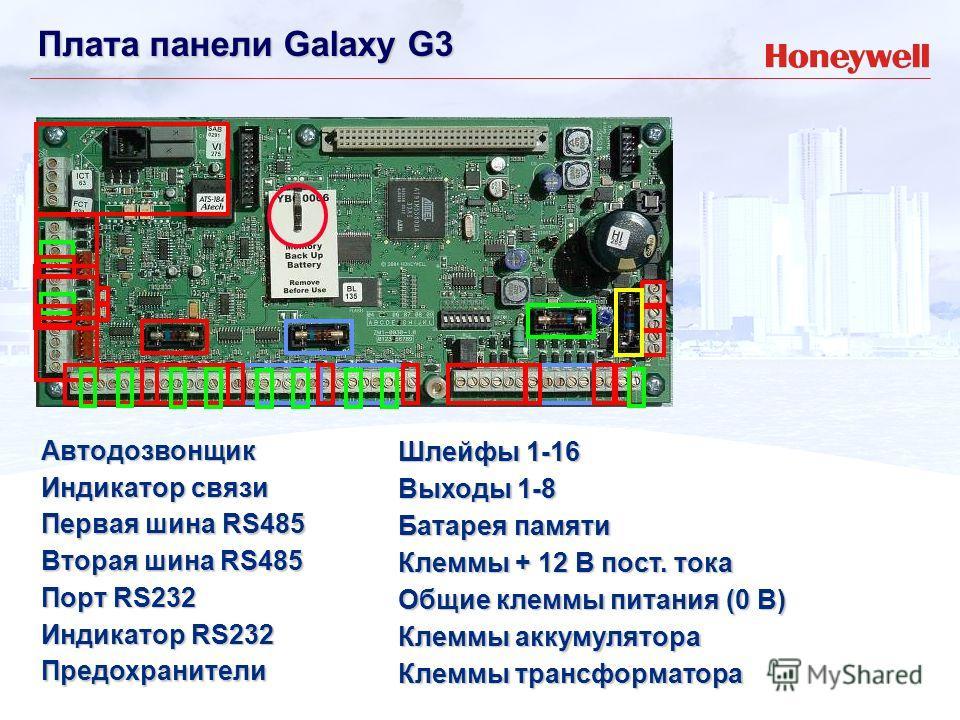 Автодозвонщик Первая шина RS485 Порт RS232 Предохранители Индикатор связи Вторая шина RS485 Индикатор RS232 Шлейфы 1-16 Выходы 1-8 Общие клеммы питания (0 В) Клеммы + 12 В пост. тока Клеммы аккумулятора Клеммы трансформатора Батарея памяти Плата пане