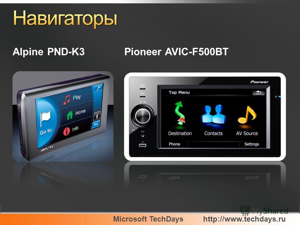 Microsoft TechDayshttp://www.techdays.ru Alpine PND-K3Pioneer AVIC-F500BT