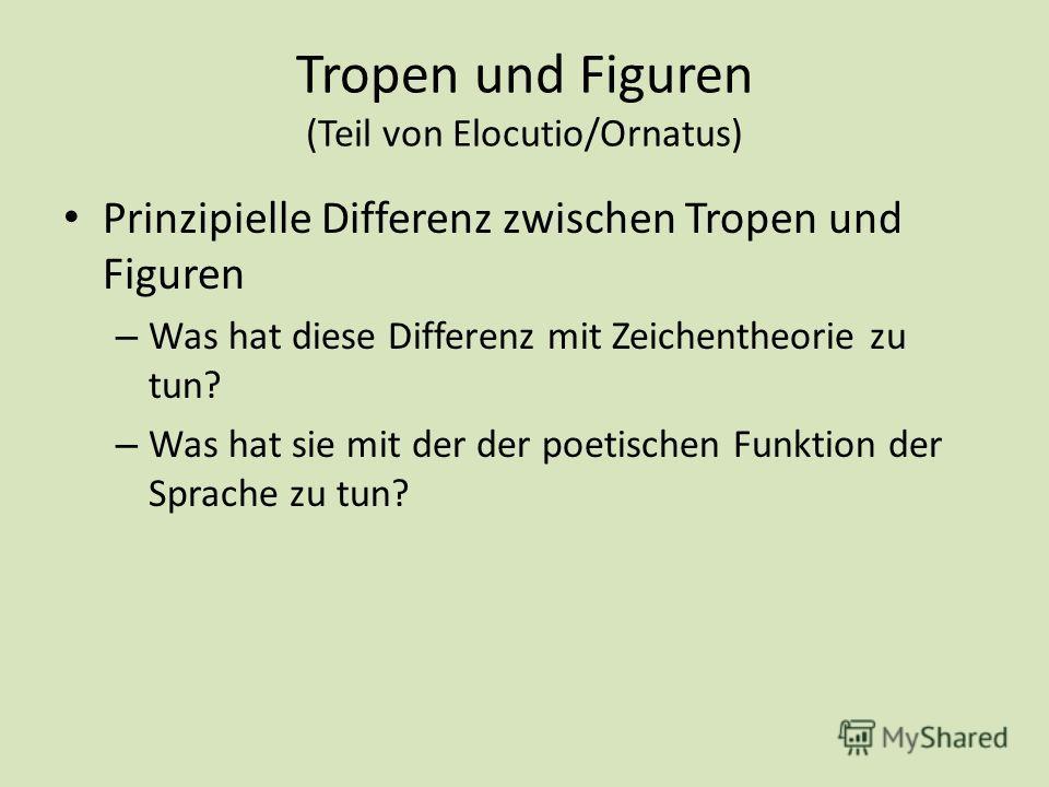 Tropen und Figuren (Teil von Elocutio/Ornatus) Prinzipielle Differenz zwischen Tropen und Figuren – Was hat diese Differenz mit Zeichentheorie zu tun? – Was hat sie mit der der poetischen Funktion der Sprache zu tun?