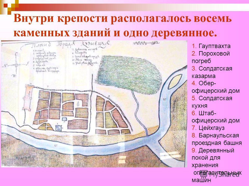 Внутри крепости располагалось восемь каменных зданий и одно деревянное. 1. Гауптвахта 2. Пороховой погреб 3. Солдатская казарма 4. Обер- офицерский дом 5. Солдатская кухня 6. Штаб- офицерский дом 7. Цейхгауз 8. Барнаульская проездная башня 9. Деревян