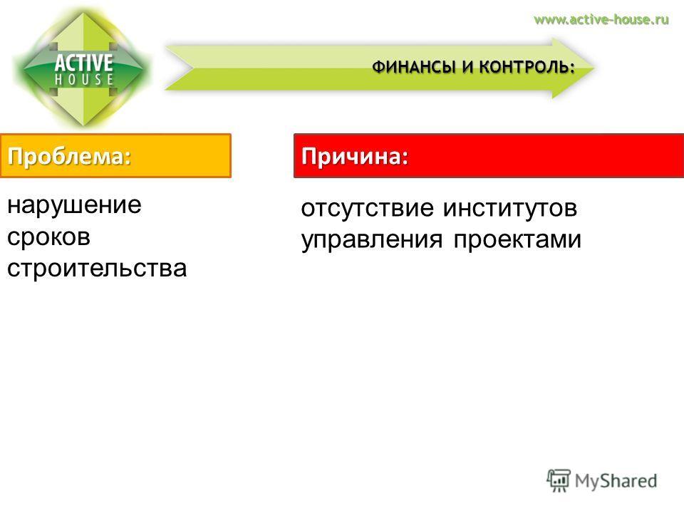 нарушение сроков строительства Проблема:Причина: отсутствие институтов управления проектами ФИНАНСЫ И КОНТРОЛЬ: www.active-house.ru