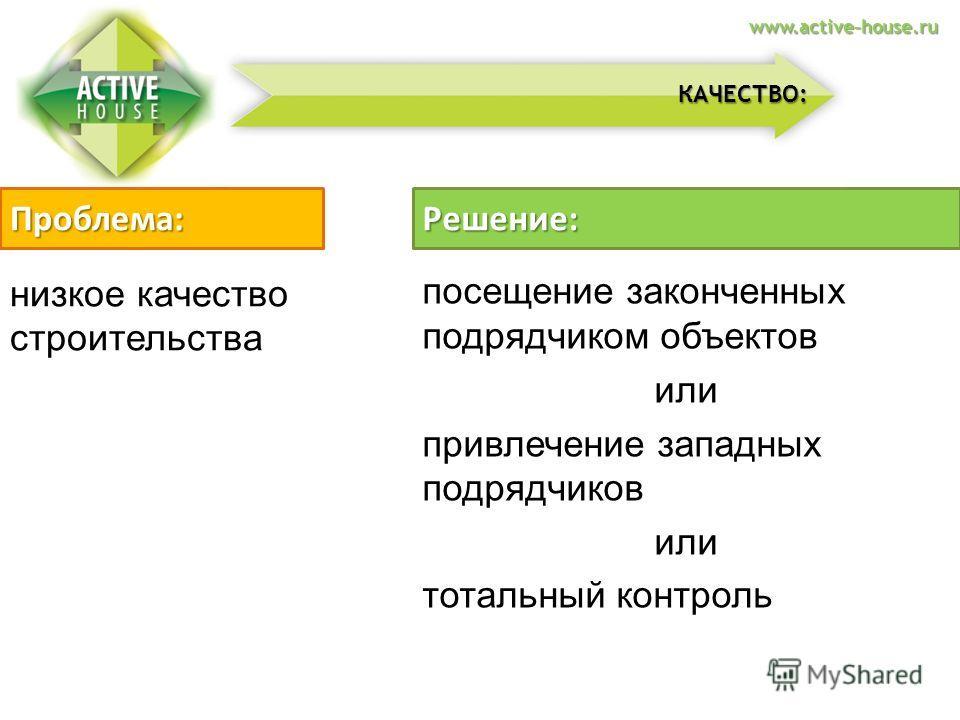 низкое качество строительства Проблема:Решение: посещение законченных подрядчиком объектов или привлечение западных подрядчиков или тотальный контроль КАЧЕСТВО: www.active-house.ru