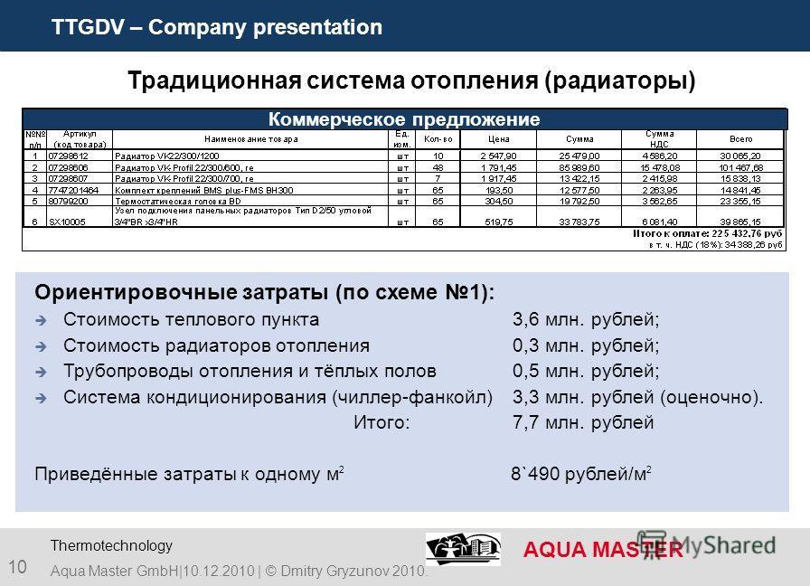 TTGDV – Company presentation AQUA MASTER 10 Aqua Master GmbH|10.12.2010 | © Dmitry Gryzunov 2010. Thermotechnology Ориентировочные затраты (по схеме 1): Стоимость теплового пункта 3,6 млн. рублей; Стоимость радиаторов отопления0,3 млн. рублей; Трубоп