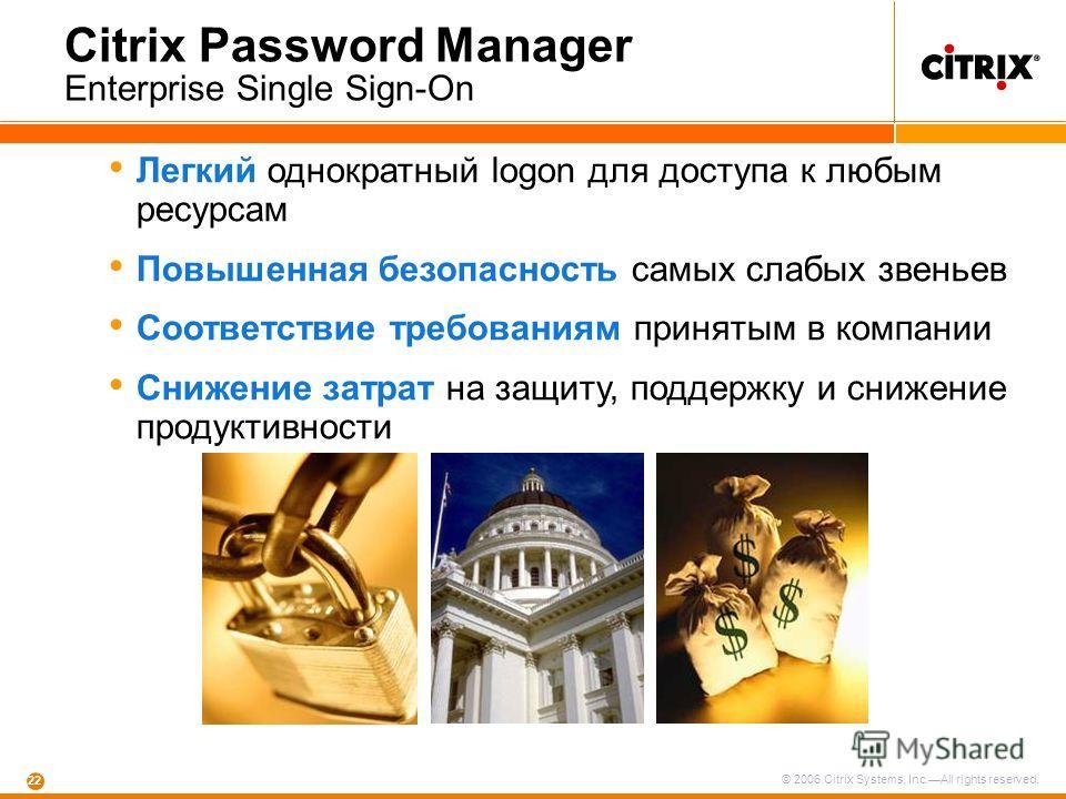 © 2006 Citrix Systems, Inc.All rights reserved. 22 Citrix Password Manager Enterprise Single Sign-On Легкий однократный logon для доступа к любым ресурсам Повышенная безопасность самых слабых звеньев Соответствие требованиям принятым в компании Сниже