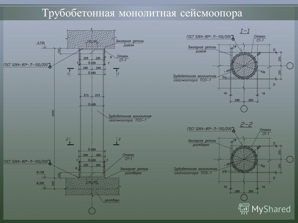 Трубобетонная монолитная сейсмоопора