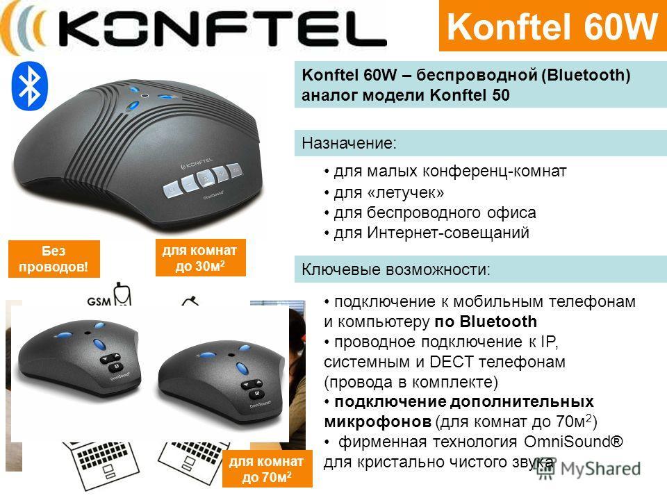 Konftel 60W для комнат до 30м 2 Konftel 60W – беспроводной (Bluetooth) аналог модели Konftel 50 Назначение: Ключевые возможности: для малых конференц-комнат для «летучек» для беспроводного офиса для Интернет-совещаний подключение к мобильным телефона