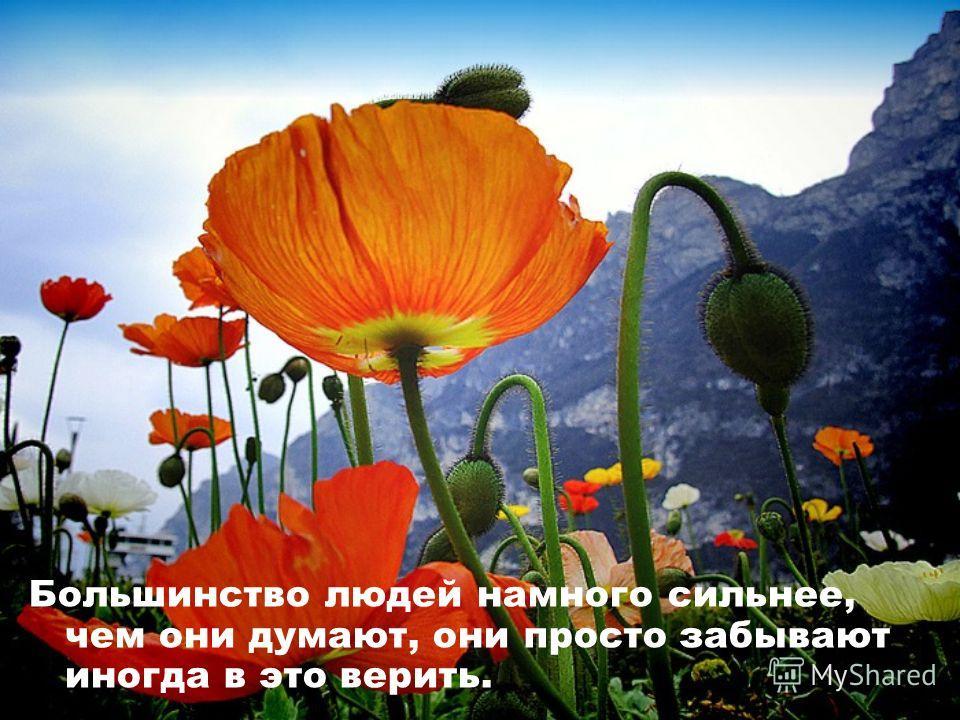 Большинство людей намного сильнее, чем они думают, они просто забывают иногда в это верить.
