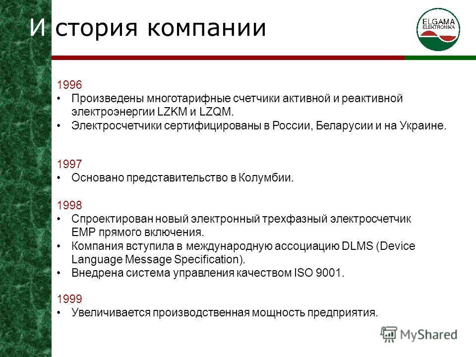 И стория компании 1996 Произведены многотарифные счетчики активной и реактивной электроэнергии LZKM и LZQM. Электросчетчики сертифицированы в России, Беларусии и на Украине. 1997 Основано представительство в Колумбии. 1998 Спроектирован новый электро