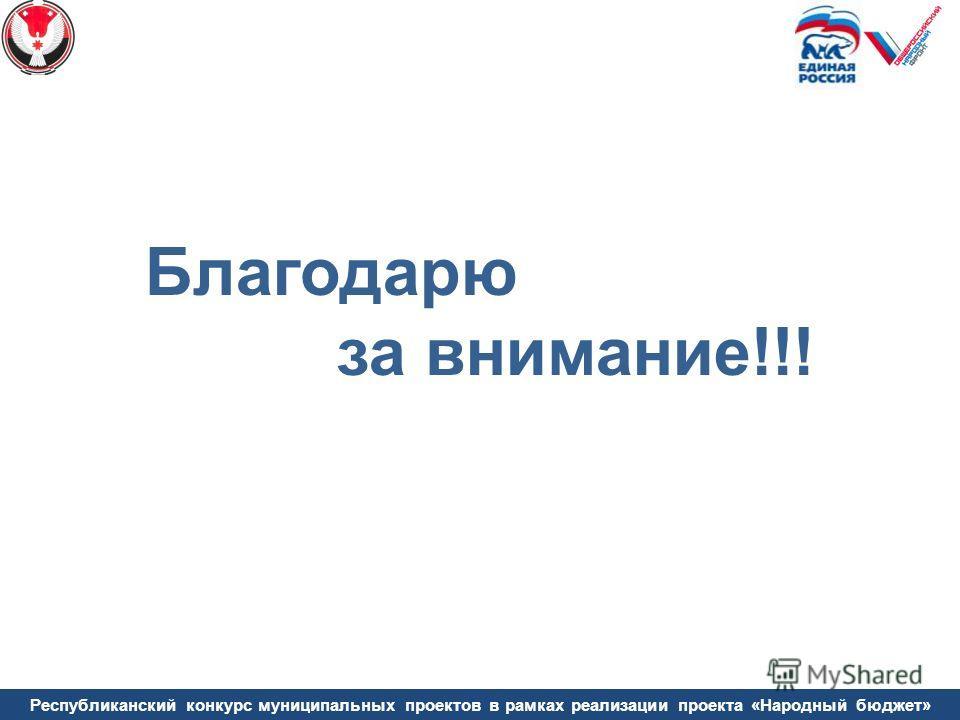 Республиканский конкурс муниципальных проектов в рамках реализации проекта «Народный бюджет» Благодарю за внимание!!!