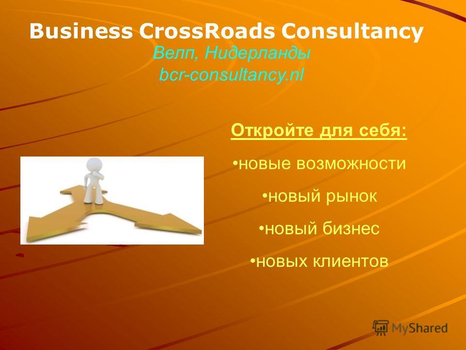 Business CrossRoads Consultancy Откройте для себя: новые возможности новый рынок новый бизнес новых клиентов Велп, Нидерланды bcr-consultancy.nl