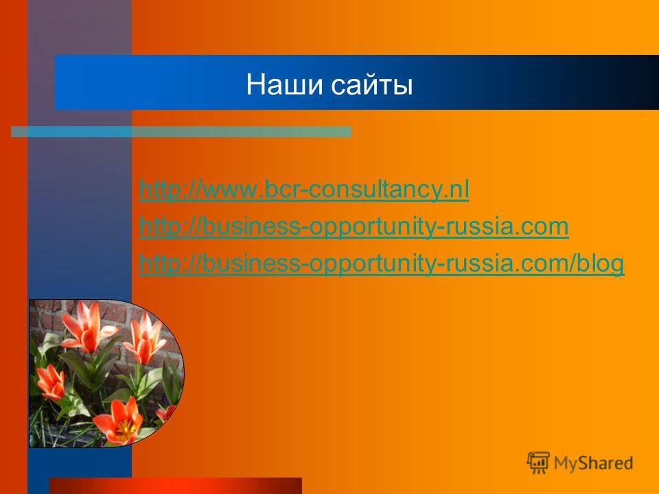Наши сайты http://www.bcr-consultancy.nl http://business-opportunity-russia.com http://business-opportunity-russia.com/blog